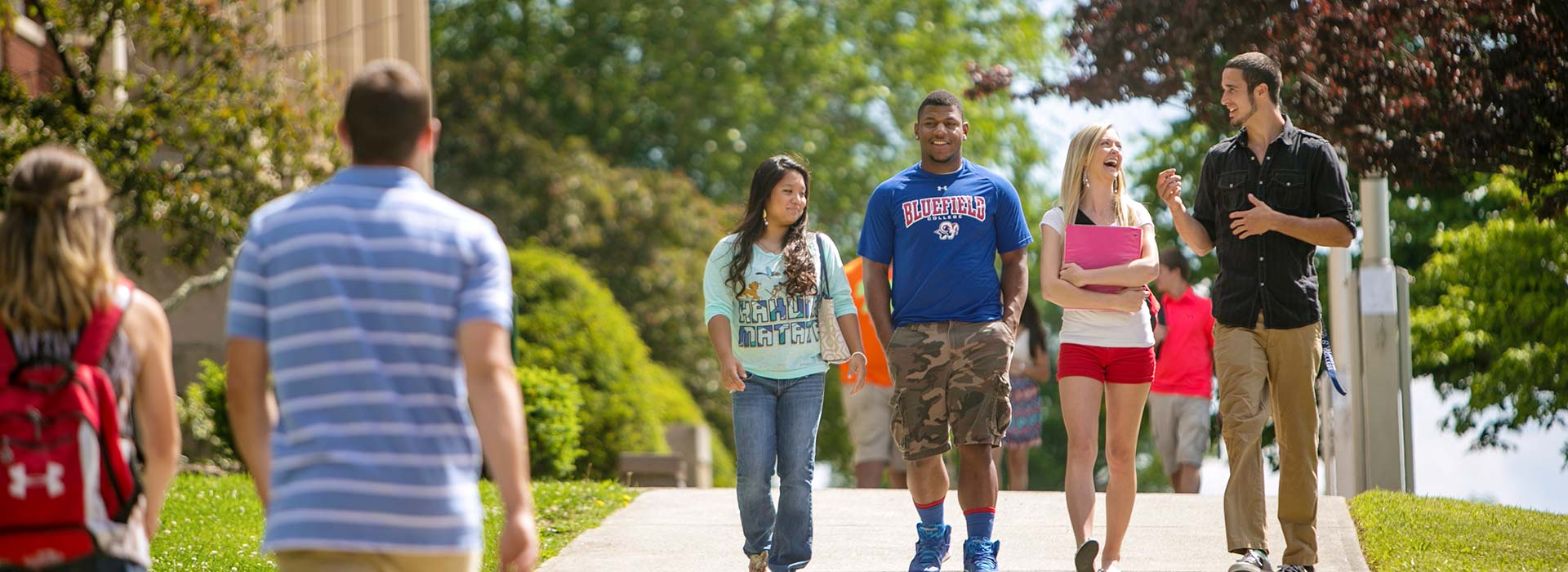 Bluefield campus with students