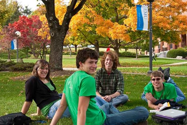 EMU Students sitting in the quad