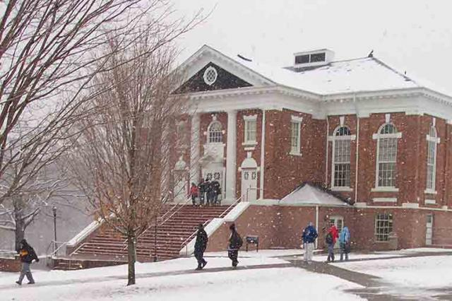 Ferrum campus in the snow